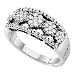0.51 CTW Diamond Flower Cluster Cocktail Ring 14KT White Gold - REF-71H9M