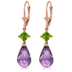 Genuine 11 ctw Amethyst & Peridot Earrings Jewelry 14KT Rose Gold - REF-39Y3F