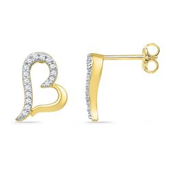 0.10 CTW Diamond Heart Screwback Earrings 10KT Yellow Gold - REF-10W5K