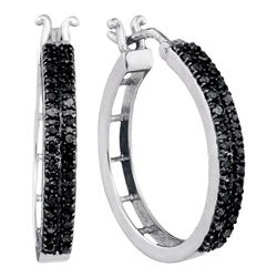 0.55 CTW Black Color Diamond Hoop Earrings 10KT White Gold - REF-30K2W