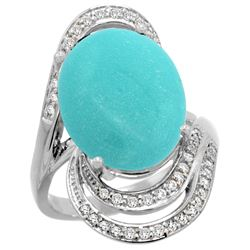 Natural 11.2 ctw turquoise & Diamond Engagement Ring 14K White Gold - REF-124V5F