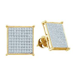0.40 CTW Diamond Square Cluster Stud Earrings 10KT Yellow Gold - REF-26M9H