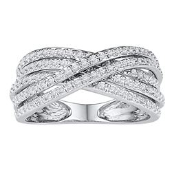 0.63 CTW Diamond Crossover Five Row Ring 10KT White Gold - REF-41N9F