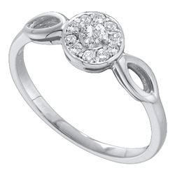 0.12 CTW Diamond Solitaire Bridal Ring 14KT White Gold - REF-18F2N