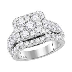 3.02 CTW Diamond Square Cluster Bridal Engagement Ring 14KT White Gold - REF-274F4N