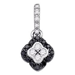 0.30 CTW Black Color Diamond Cluster Pendant 10KT White Gold - REF-18H2M