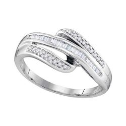 0.20 CTW Diamond Triple Row Ring 10KT White Gold - REF-19Y4X