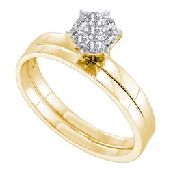 0.15 CTW Diamond Cluster Bridal Engagement Ring 10KT Yellow Gold - REF-19M4H