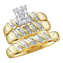 0.10 CTW His & Hers Diamond Cluster Matching Bridal Ring 10KT Yellow Gold - REF-30W2K