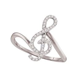 0.15 CTW Diamond Treble Clef Music Note Classic Ring 10KT White Gold - REF-14N9F