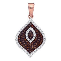 0.36 CTW Red Color Diamond Fashion Pendant 10KT Rose Gold - REF-34X4Y
