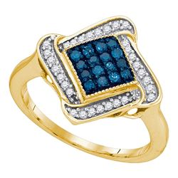0.33 CTW Blue Color Diamond Cluster Ring 10KT Yellow Gold - REF-24K2W