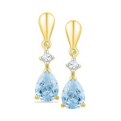 1.72 CTW Created Blue Swiss Topaz & Diamond Dangle Earrings 10KT Yellow Gold - REF-19H4M