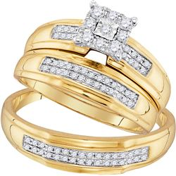 0.42 CTW His & Hers Diamond Matching Bridal Ring 10KT Yellow Gold - REF-37H5M