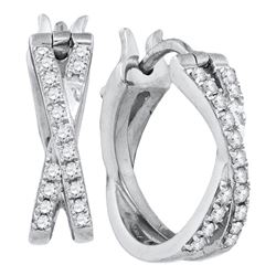 0.37 CTW Pave-set Diamond Double Row Crossover Hoop Earrings 10KT White Gold - REF-41W9K