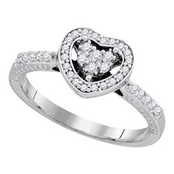 0.25 CTW Diamond Simple Heart Halo Ring 10KT White Gold - REF-25X4Y