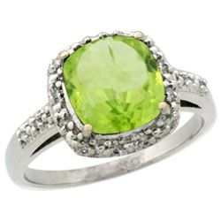 Natural 2.4 ctw Peridot & Diamond Engagement Ring 14K White Gold - REF-34V3F