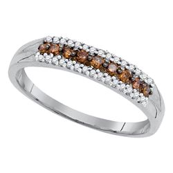 0.20 CTW Cognac-brown Color Diamond Ring 10KT White Gold - REF-14H9M