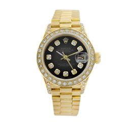 Rolex Pre-owned 26mm Womens Blue Vignette 18K Gold - REF-1130N4H