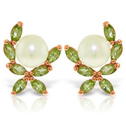 Genuine 3.25 ctw Pearl & Peridot Earrings Jewelry 14KT Rose Gold - REF-30N2R