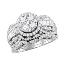 1.45 CTW Diamond Cluster Halo Bridal Engagement Ring 14KT White Gold - REF-149F9N