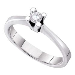 0.10 CTW Diamond Solitaire Bridal Engagement Ring 14KT White Gold - REF-34H4M