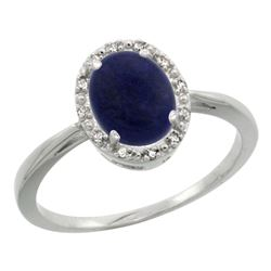 Natural 1.05 ctw Lapis & Diamond Engagement Ring 14K White Gold - REF-25X6A