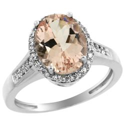 Natural 2.49 ctw Morganite & Diamond Engagement Ring 14K White Gold - REF-66Y2X