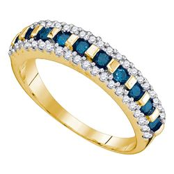0.50 CTW Blue Color Channel-set Diamond Ring 10KT Yellow Gold - REF-30K2W