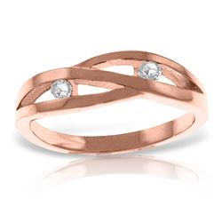 Genuine 0.10 ctw Diamond Anniversary Ring Jewelry 14KT Rose Gold - REF-54N9R