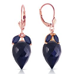 Genuine 26.8 ctw Sapphire Earrings Jewelry 14KT Rose Gold - REF-59A9K