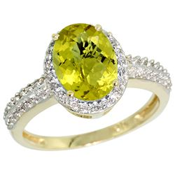 Natural 1.91 ctw Lemon-quartz & Diamond Engagement Ring 10K Yellow Gold - REF-31X4A