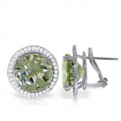 Genuine 10.40 ctw Green Amethyst & Diamond Earrings Jewelry 14KT White Gold - REF-120P5H