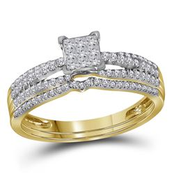 0.50 CTW Princess Diamond Cluster Bridal Engagement Ring 14KT Yellow Gold - REF-52H4M