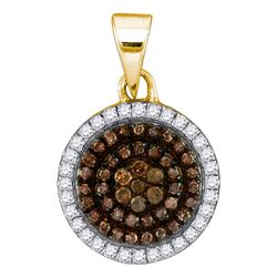 0.33 CTW Cognac-brown Color Diamond Circle Cluster Pendant 10KT Yellow Gold - REF-19Y4X