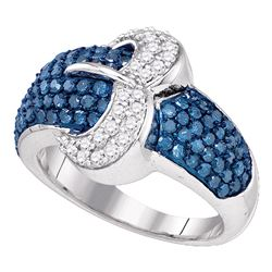 1.4 CTW Blue Color Diamond Belt Buckle Cocktail Ring 10KT White Gold - REF-59M9H