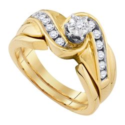 0.33 CTW Diamond Bridal Wedding Engagement Ring 14KT Yellow Gold - REF-67W4K
