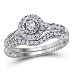 0.33 CTW Diamond Halo Bridal Engagement Ring 10KT White Gold - REF-40K4W