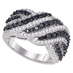 1.5 CTW Black Color Diamond Cocktail Ring 10KT White Gold - REF-104M9H