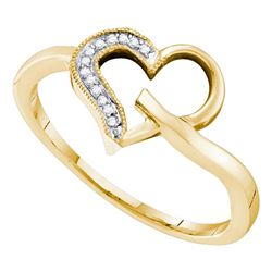 0.04 CTW Diamond Heart Love Ring 10KT Yellow Gold - REF-8Y9X