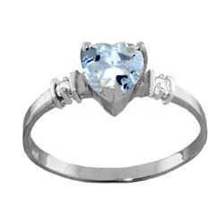 Genuine 0.98 ctw Aquamarine & Diamond Ring Jewelry 14KT White Gold - REF-34Y3F