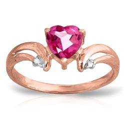 Genuine 0.96 ctw Pink Topaz & Diamond Ring Jewelry 14KT Rose Gold - REF-42F2Z