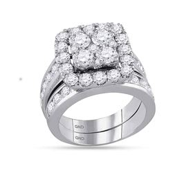 4.26 CTW Diamond Square Cluster Bridal Engagement Ring 14KT White Gold - REF-524H9M