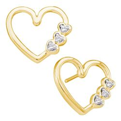 0.07 CTW Diamond Simple Heart Screwback Earrings 10KT Yellow Gold - REF-14N9F