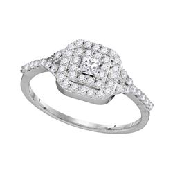 0.50 CTW Princess Diamond Bridal Engagement Ring 14k White Gold - REF-40H4M