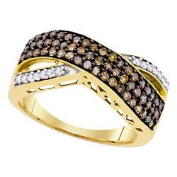 0.70 CTW Cognac-brown Color Diamond Crossover Ring 10KT Yellow Gold - REF-33X8Y