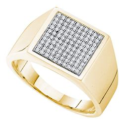 0.35 CTW Mens Pave-set Diamond Square Cluster Ring 10KT Yellow Gold - REF-49N5F