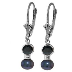 Genuine 5.2 ctw Sapphire & Black Pearl Earrings Jewelry 14KT White Gold - REF-27Y4F