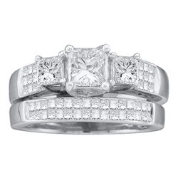 2 CTW Princess Diamond Bridal Engagement Ring 14KT White Gold - REF-424N3F