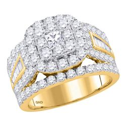 3.01 CTW Princess Diamond Solitaire Halo Bridal Engagement Ring 14KT Yellow Gold - REF-285X2Y